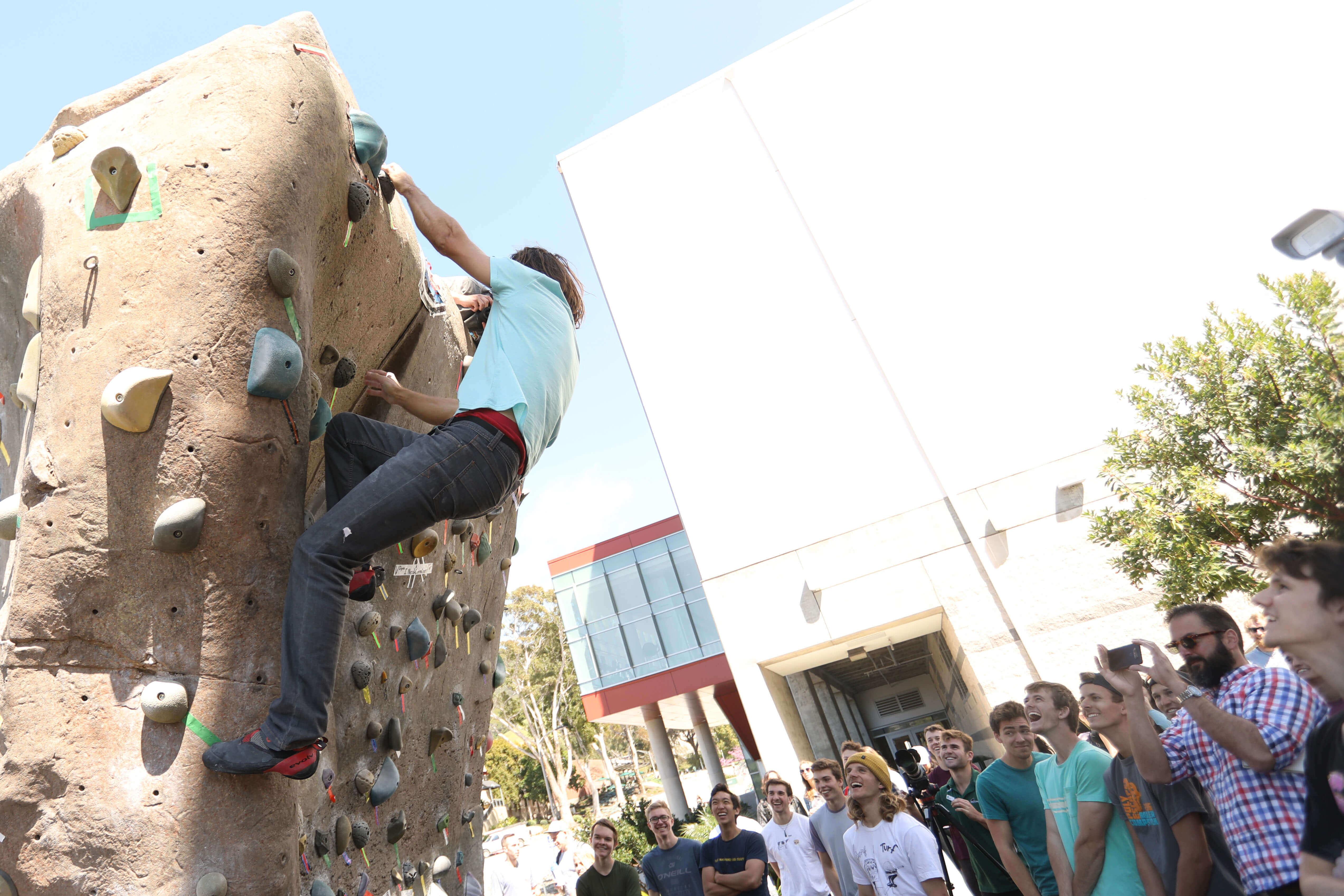 Professional climber Chris Sharma climbs at the Cal Poly climbing park.