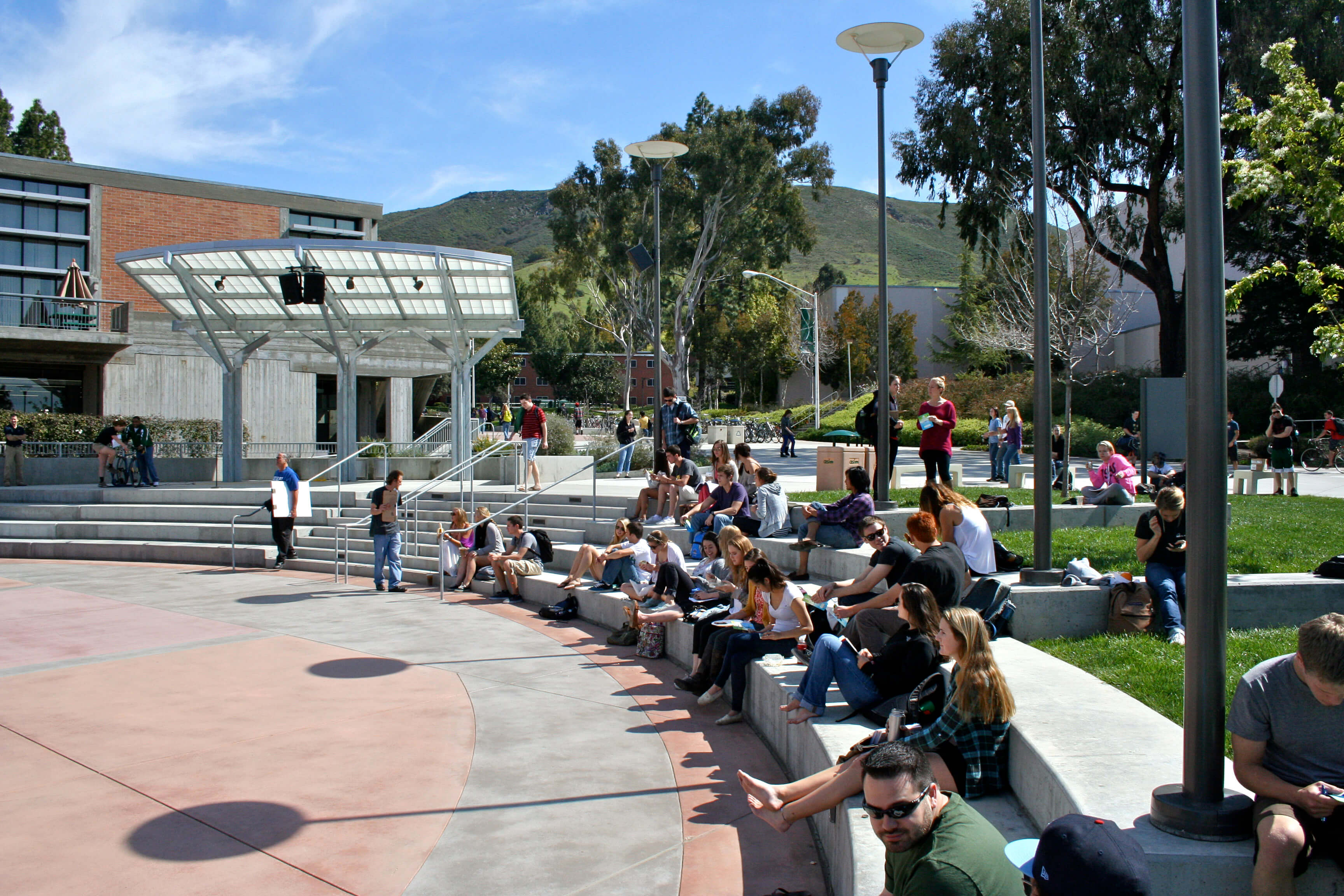 Students in the University Union Plaza