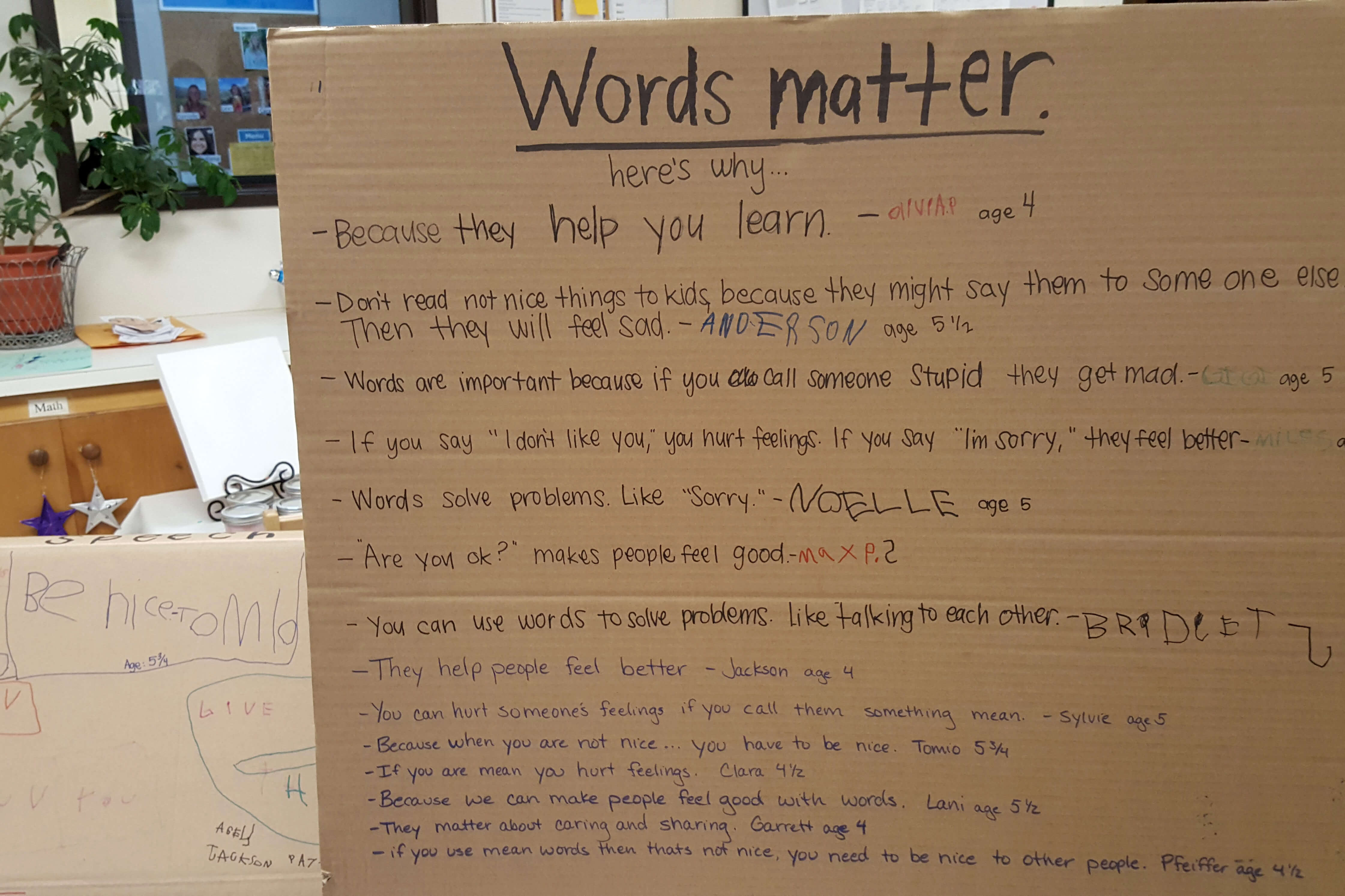 Words Matter display created by children at the Orfalea Family & ASI Children's Center