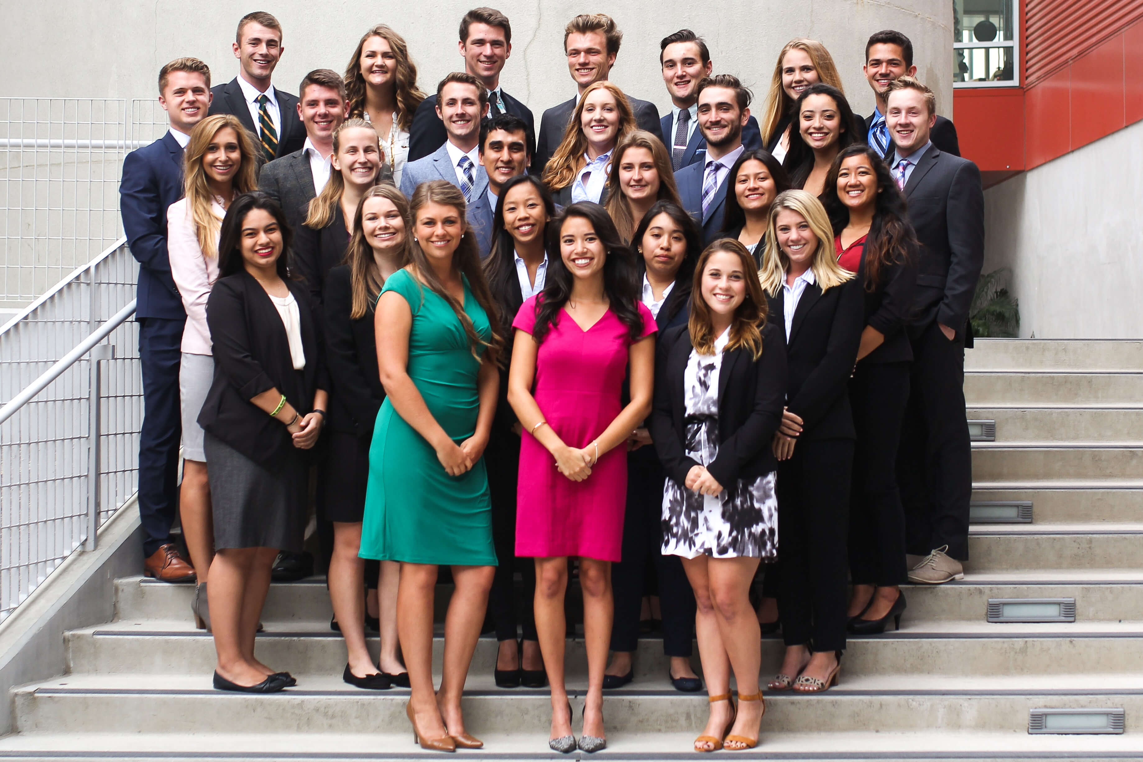 Group photo of the ASI Board of Directors on the steps of the Cal Poly Recreation Center