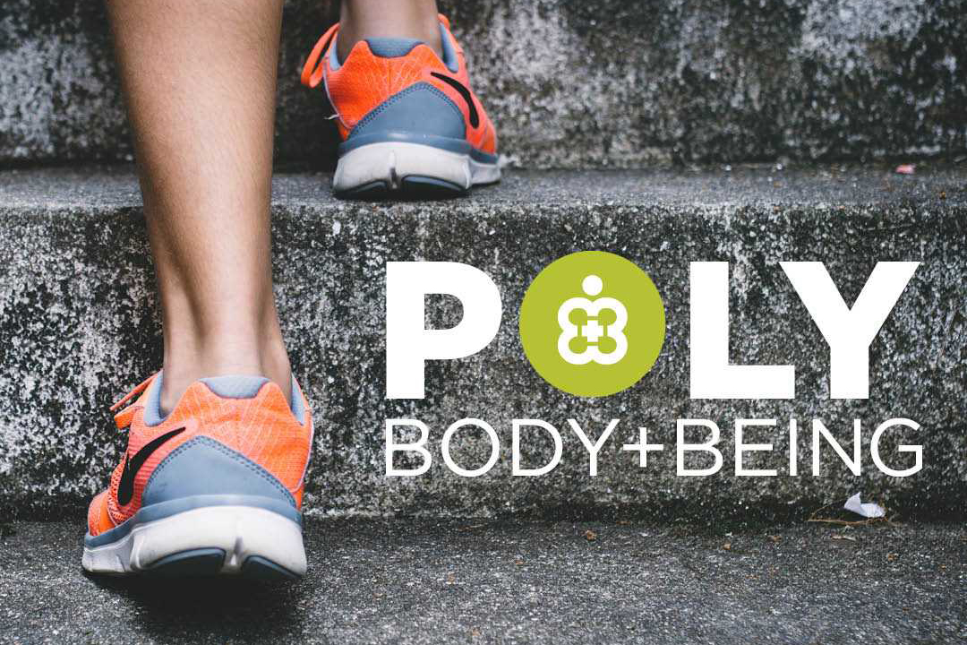 Poly Body + Being, persons shoes walking up steps