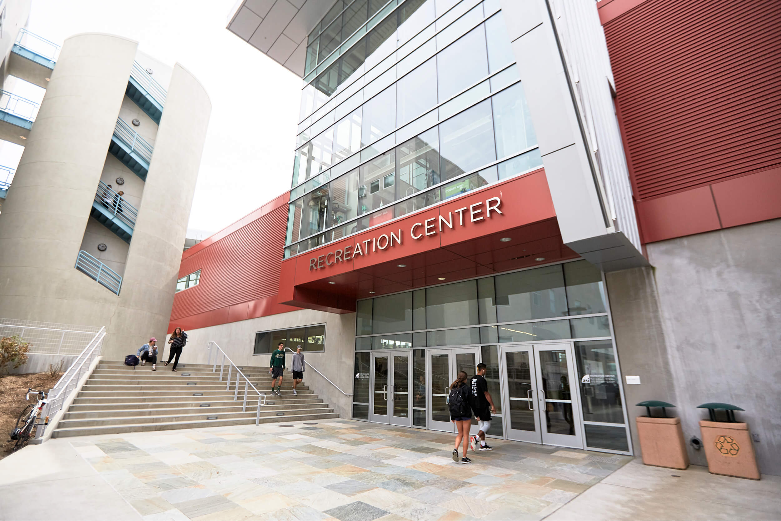 Students entering the Recreation Center