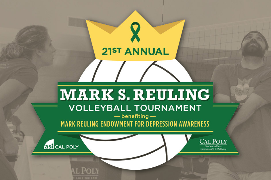Logo of a volleyball with a crown for the 21st annual Mark S. Reuling Volleyball Tournament benefiting Mark Reuling Endowment for Depression Awareness in collaboration with ASI Cal Poly and Cal Poly Student Affairs Campus Health & Wellbeing