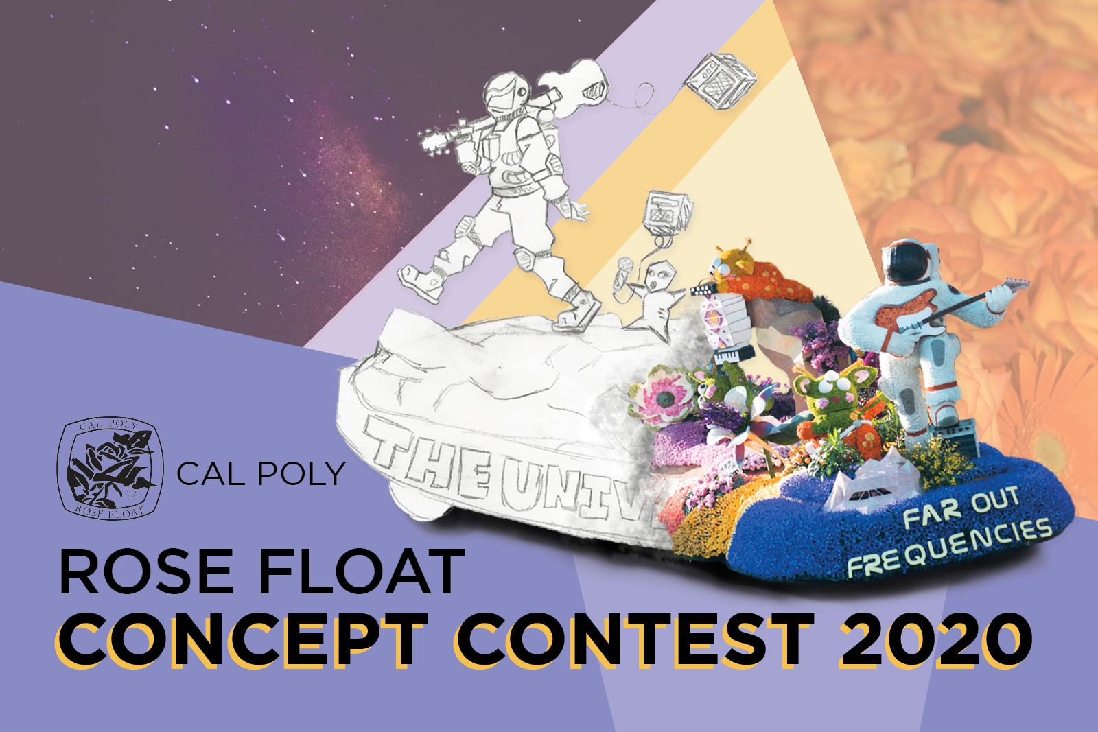 Cal Poly Rose Float Concept Contest 2020, Sketch of last year's winning design of an astronaut with a guitar and aliens singing combined with the final float design called