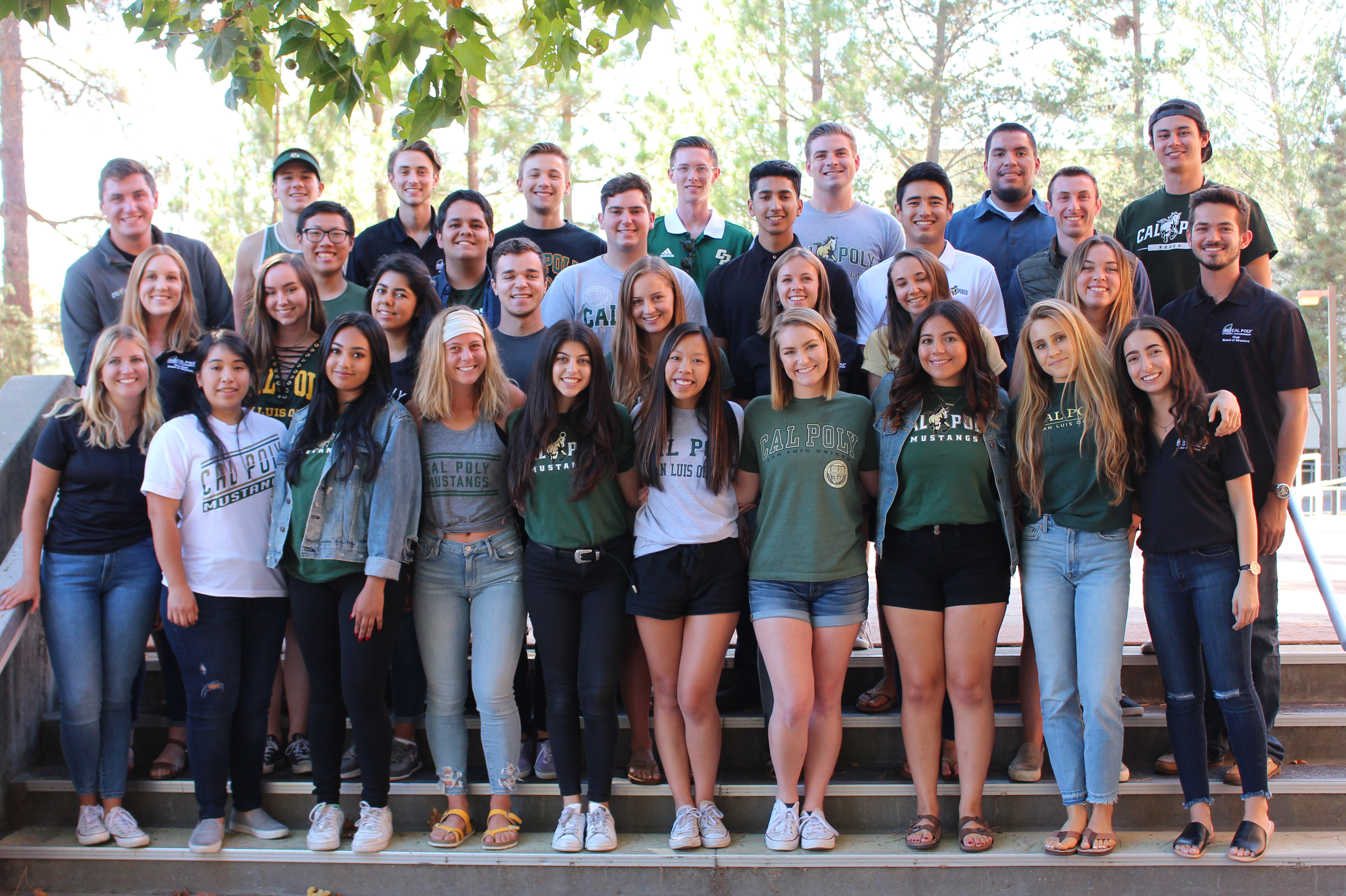 A group of Student Government members wearing a variety of Cal Poly shirts stand smiling on steps