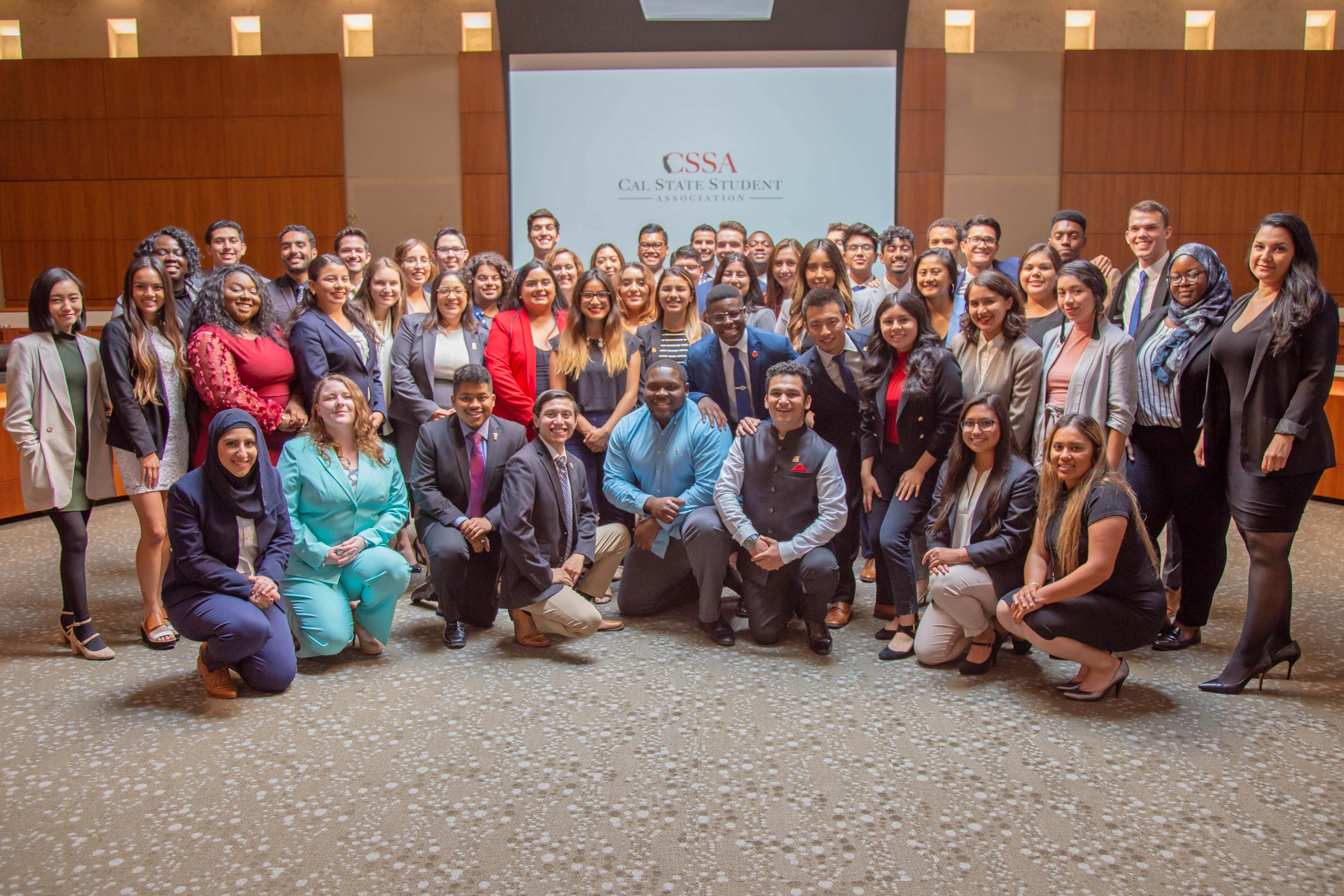 A large group of student representatives from all CSU campuses